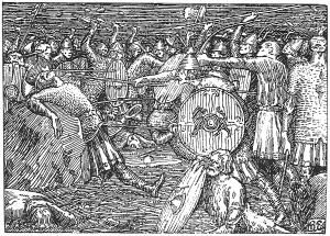 Olav  seinere kalt den hellige  får et dødelig spydstikk under slaget på Stiklestad i 1030. Først fikk han et øksehogg over kneet, deretter et spyd opp i magen, og til slutt et hogg i halsen. Spydet holdt Tore Hund, skal vi tro Snorre Sturlason. Illustrasjon av Halfdan Egedius, hentet fra den illustrerte utgaven av Snorre Sturlasons kongesagaer, J. M. Stenersens forlag.